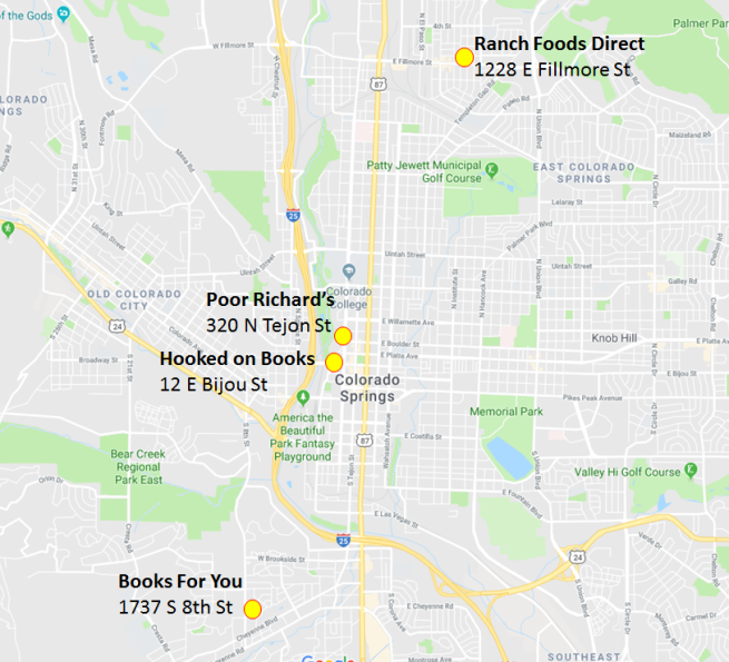 CO Springs Store Map